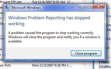 best vista error Disable Error Reporting
