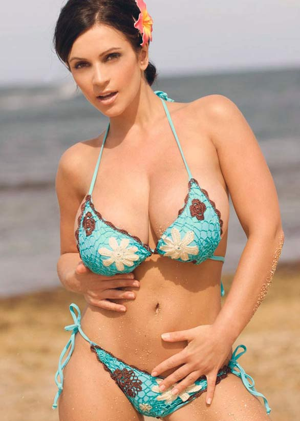 denise milani rocking in blue bikini photoshots 10 Denise Milani Rocking in Blue Flower Bikini