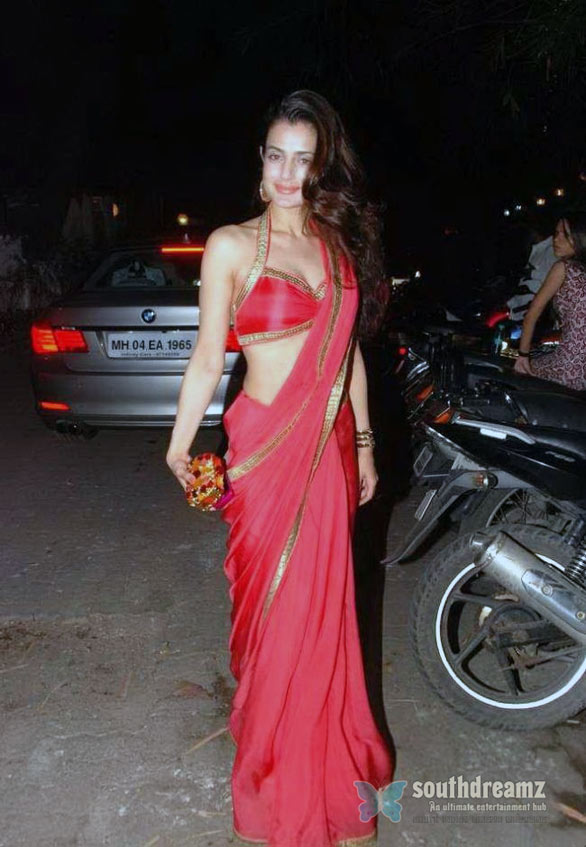 Amisha Patel in Red Saree 08 Amisha Patel Hot in Red Saree