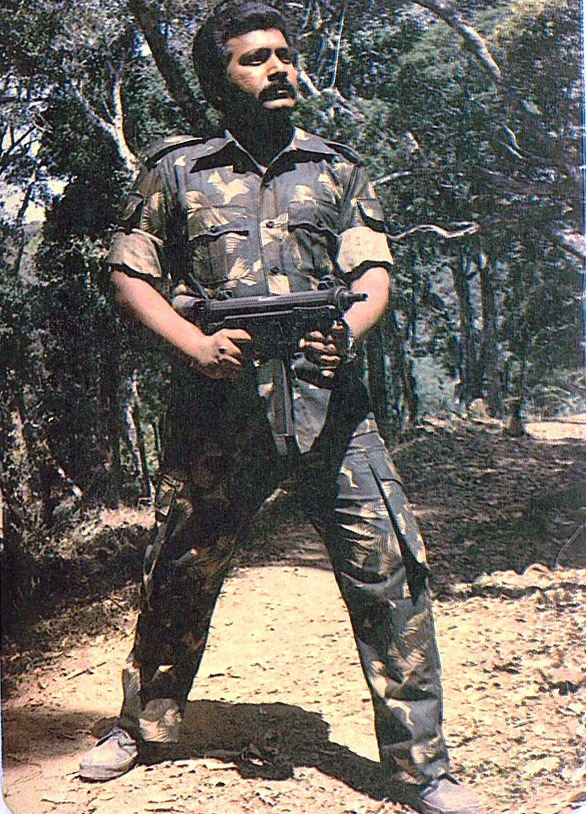 pirapaharan in 1984 with gun Velupillai Pirapaharan