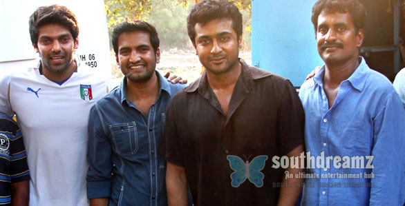 Surya with aarya santhanam on Settai shooting spot The Top 10 Mass Heroes of Tamil Cinema!