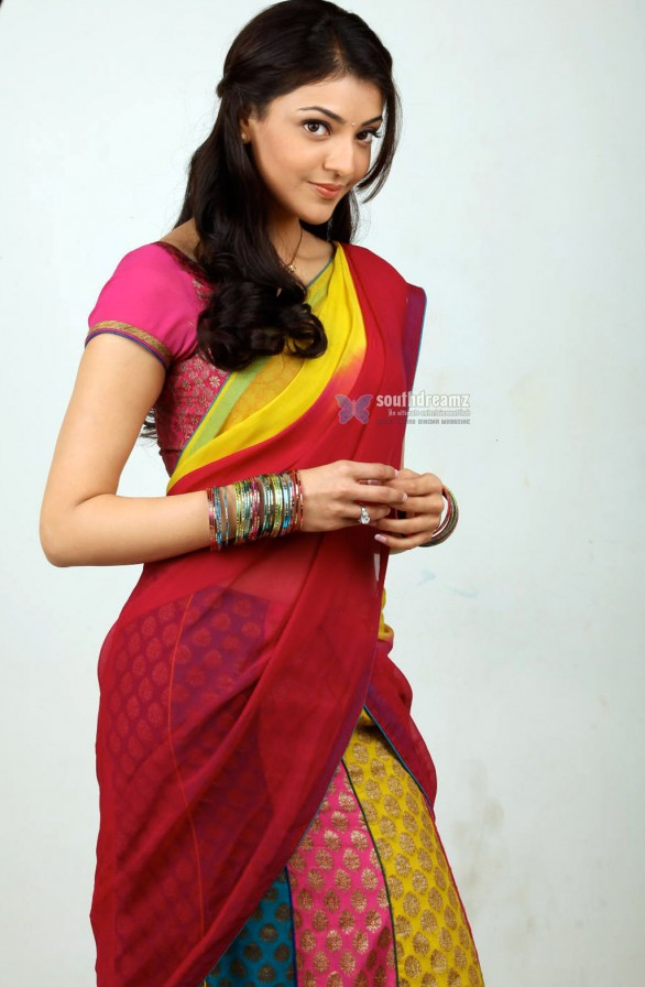 actress kajal agarwal half saree stills 4 586x896 KV Anand follows Shankar