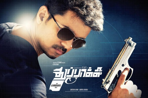 thuppaki posters 3 586x390 Thuppaki to race with 3 movies