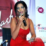 "Model-turned-actor Poonam Pandey interacting with media on her debut movie ""Nasha"" in Hyderabad."