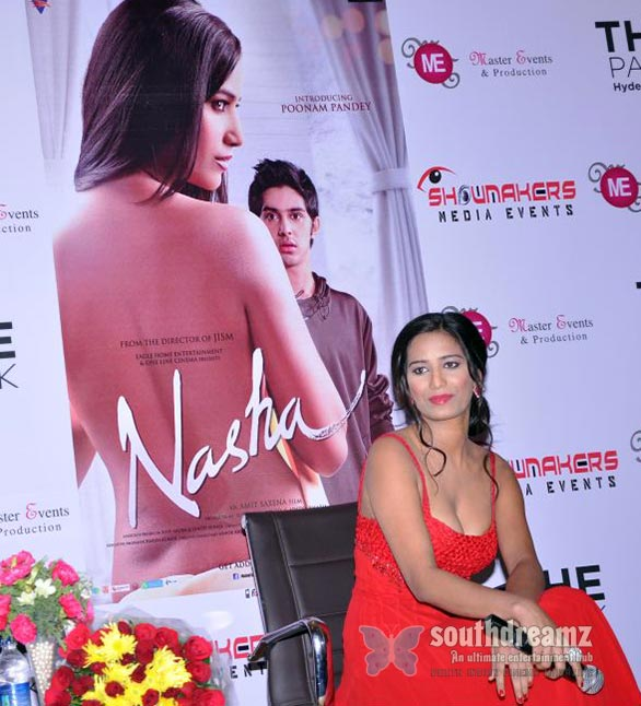 """Model-turned-actor Poonam Pandey interacting with media on her debut movie """"Nasha"""" in Hyderabad."""