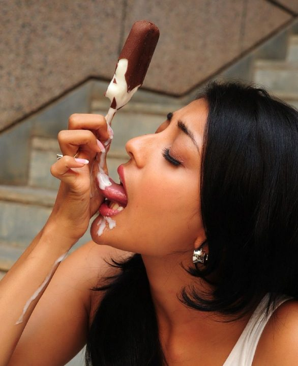 Kajal Agarwal eating Ice Cream