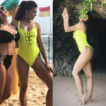Jacqueline Fernandez is living the beach life in a fluorescent yellow monokini in Bali